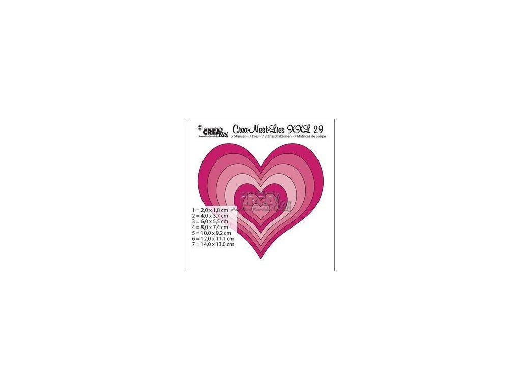 Crealies - XXL29 / srdce - vyřezávací šablony pro Big Shot