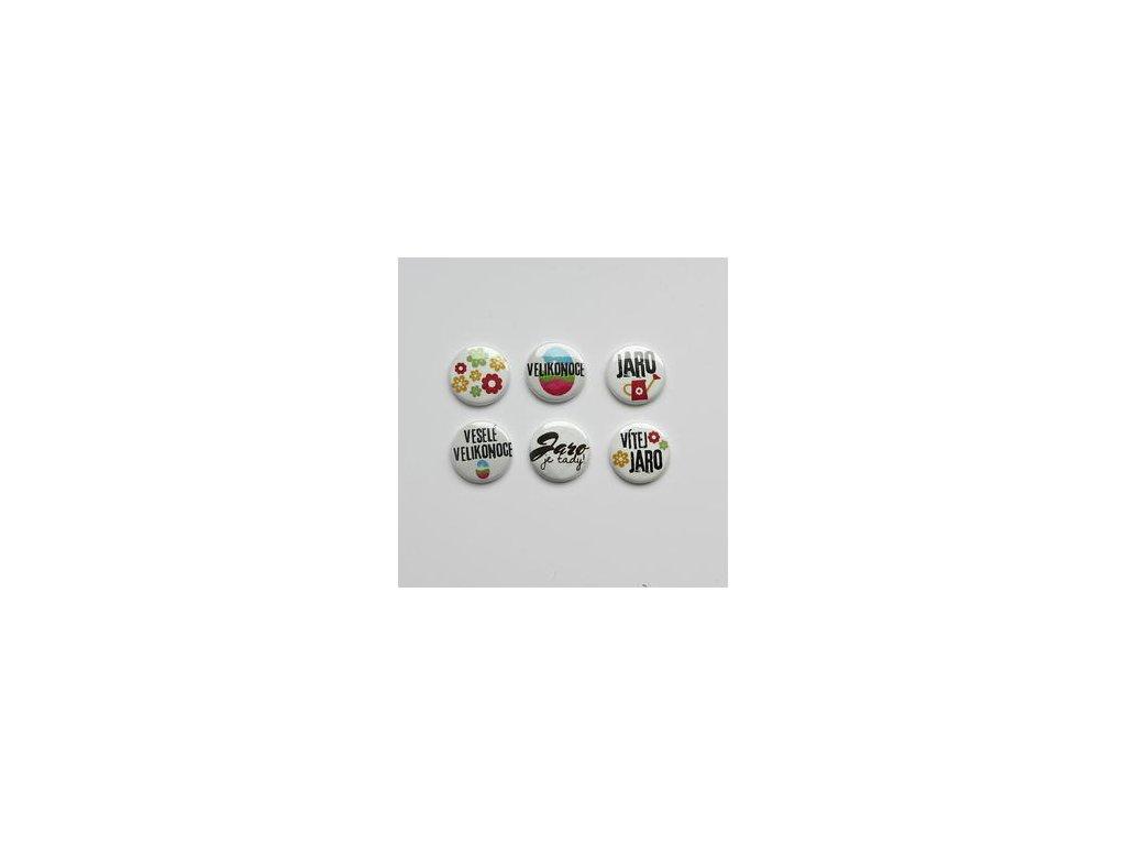 Jarní sada VÍTEJ JARO -  3D button / placka, 6 ks