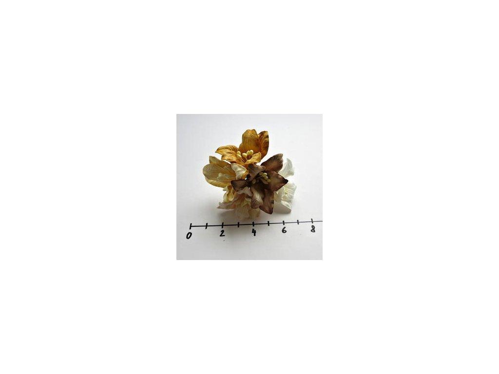 MULBERRY PAPER LILY FLOWERS / lilie / 5 ks - papírové kytky