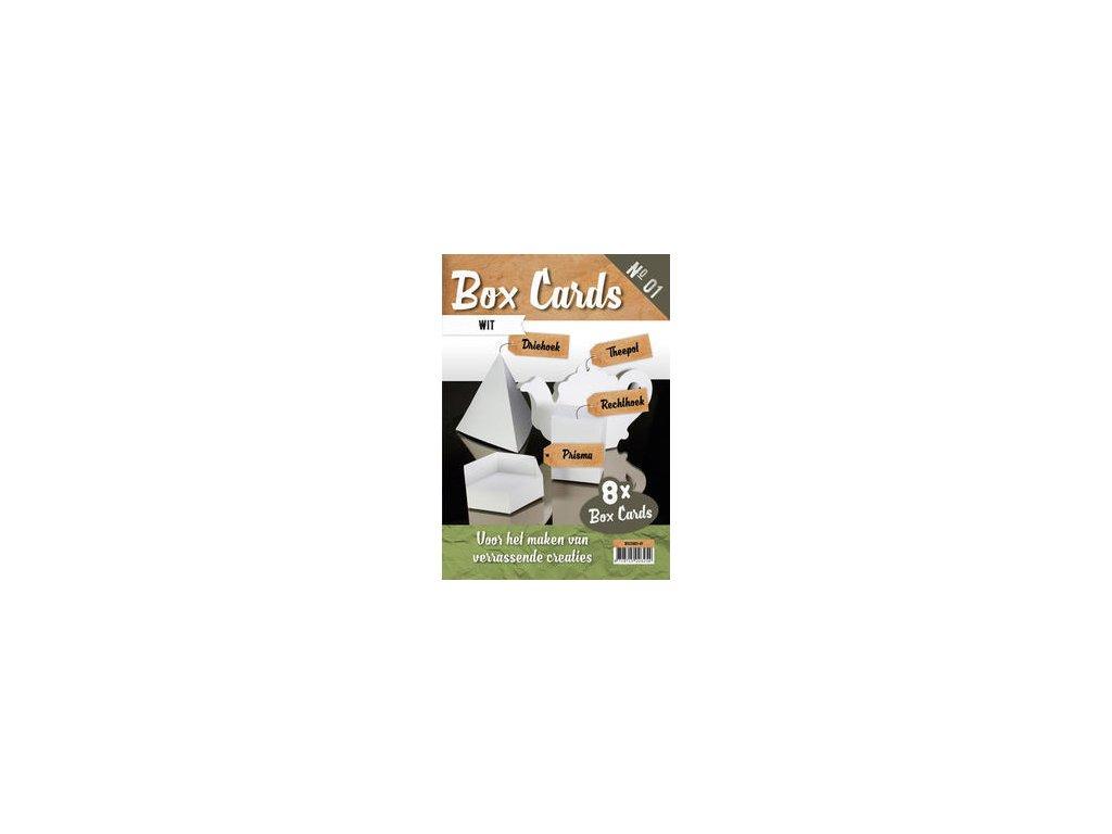 BOX CARD / WHITE - základy přání, 8 ks