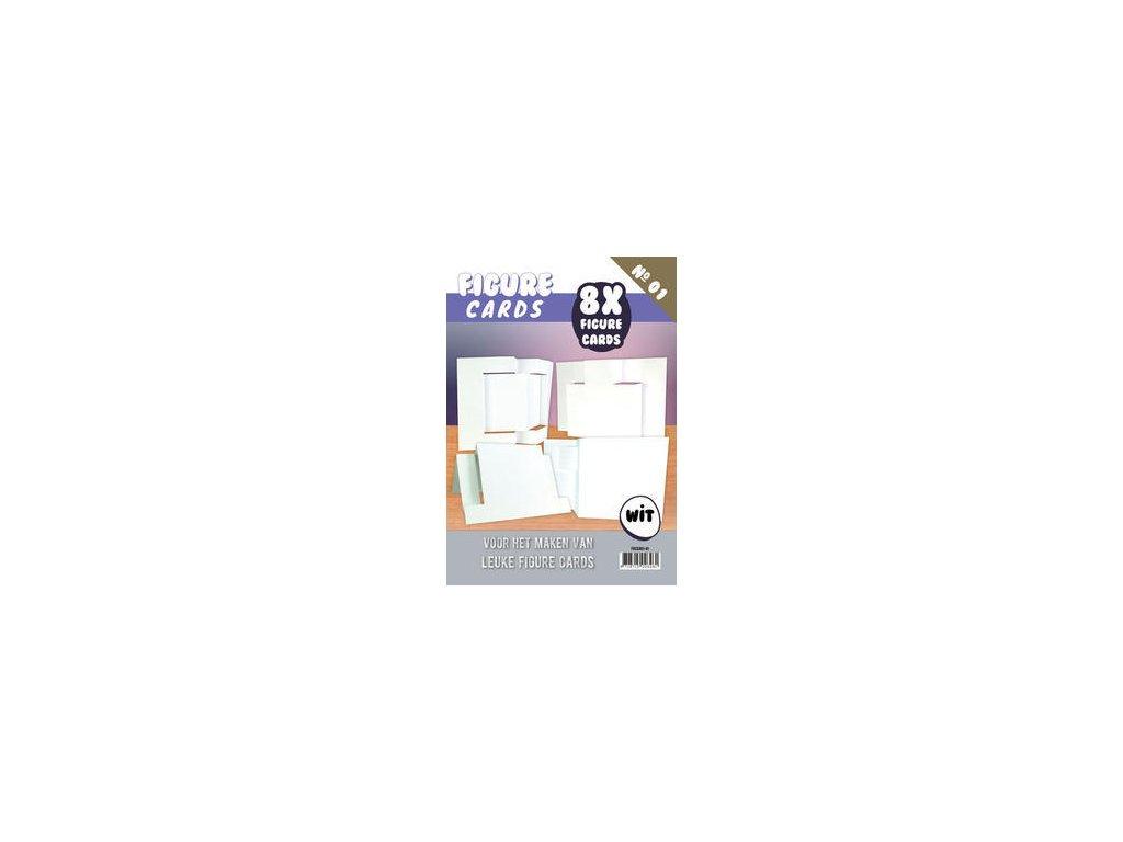 FIGURE CARDS / WHITE - základy přání, 8 ks