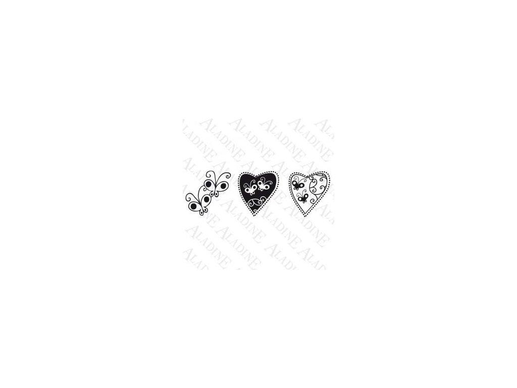 Aladine - motýli a srdce  - dřevěné gumové razítko 3v1