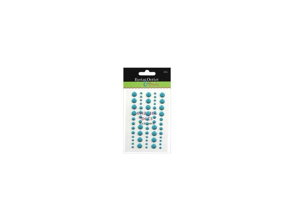EYELET Outlet -  ADHESIVE / TEAL BLUE - lesklé enamel dots, 60 ks