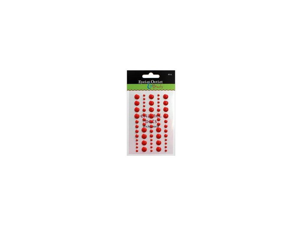EYELET Outlet -  ADHESIVE / RED - lesklé enamel dots, 60 ks