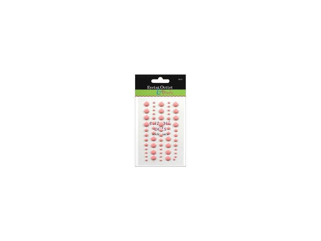 EYELET Outlet -  ADHESIVE / LIGHT PINK - lesklé enamel dots, 60 ks