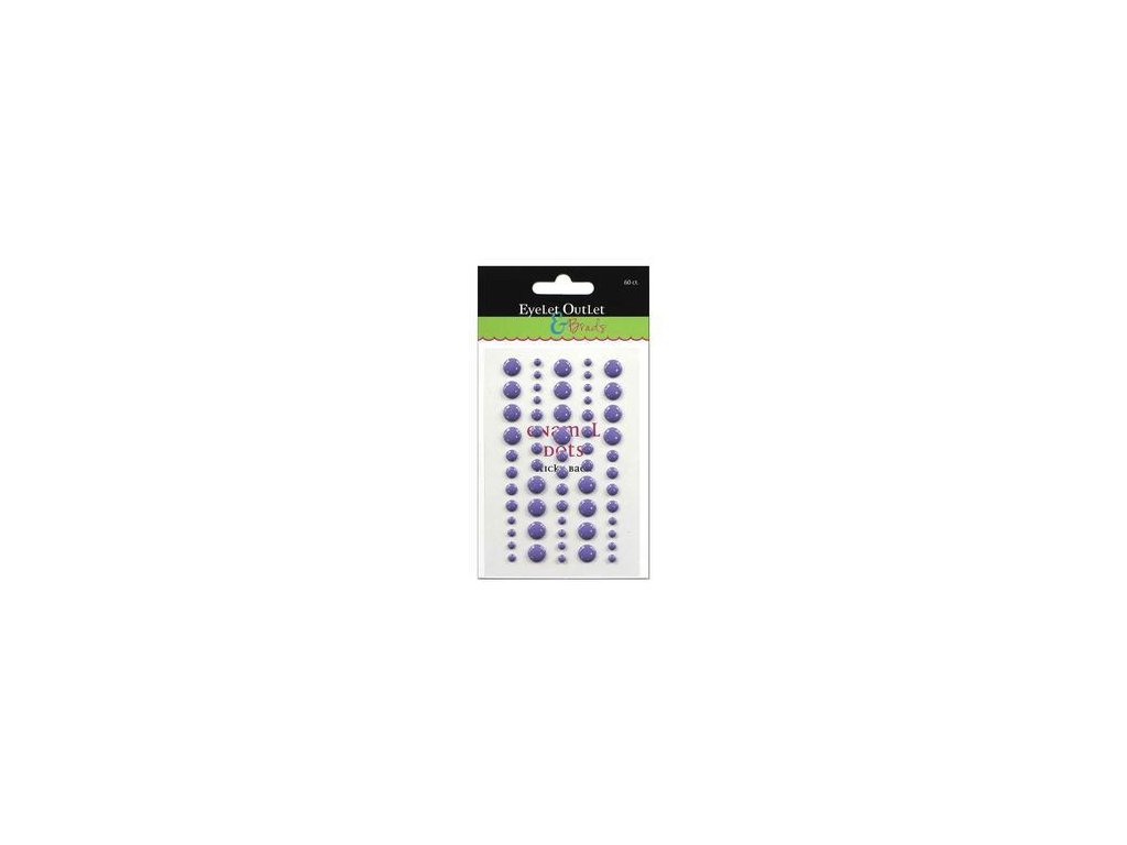 EYELET Outlet -  ADHESIVE / VIOLET - lesklé enamel dots, 60 ks
