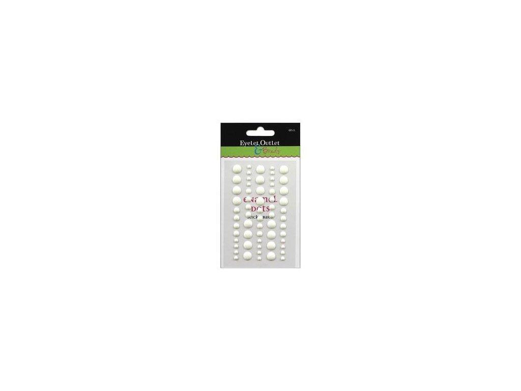 EYELET Outlet -  ADHESIVE / WHITE - lesklé enamel dots, 60 ks