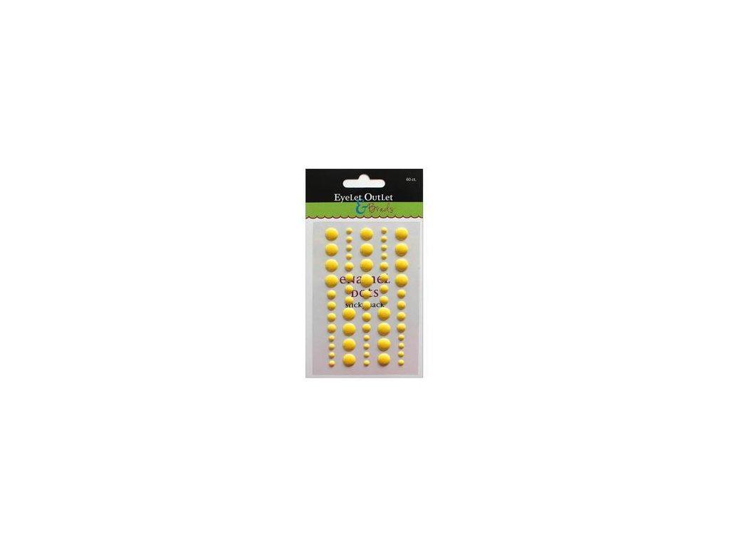 EYELET Outlet -  ADHESIVE / YELLOW - lesklé enamel dots, 60 ks