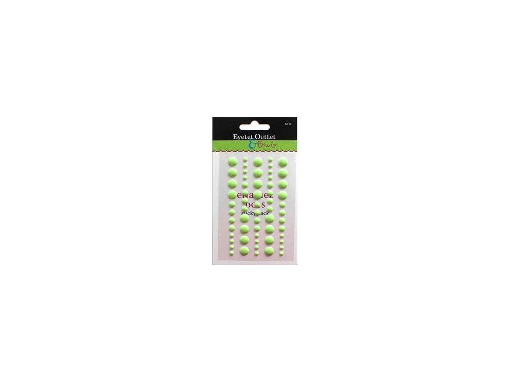 EYELET Outlet -  ADHESIVE / GREEN 2 - lesklé enamel dots, 60 ks