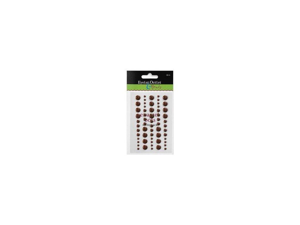 EYELET Outlet -  ADHESIVE /  BROWN - lesklé enamel dots, 60 ks