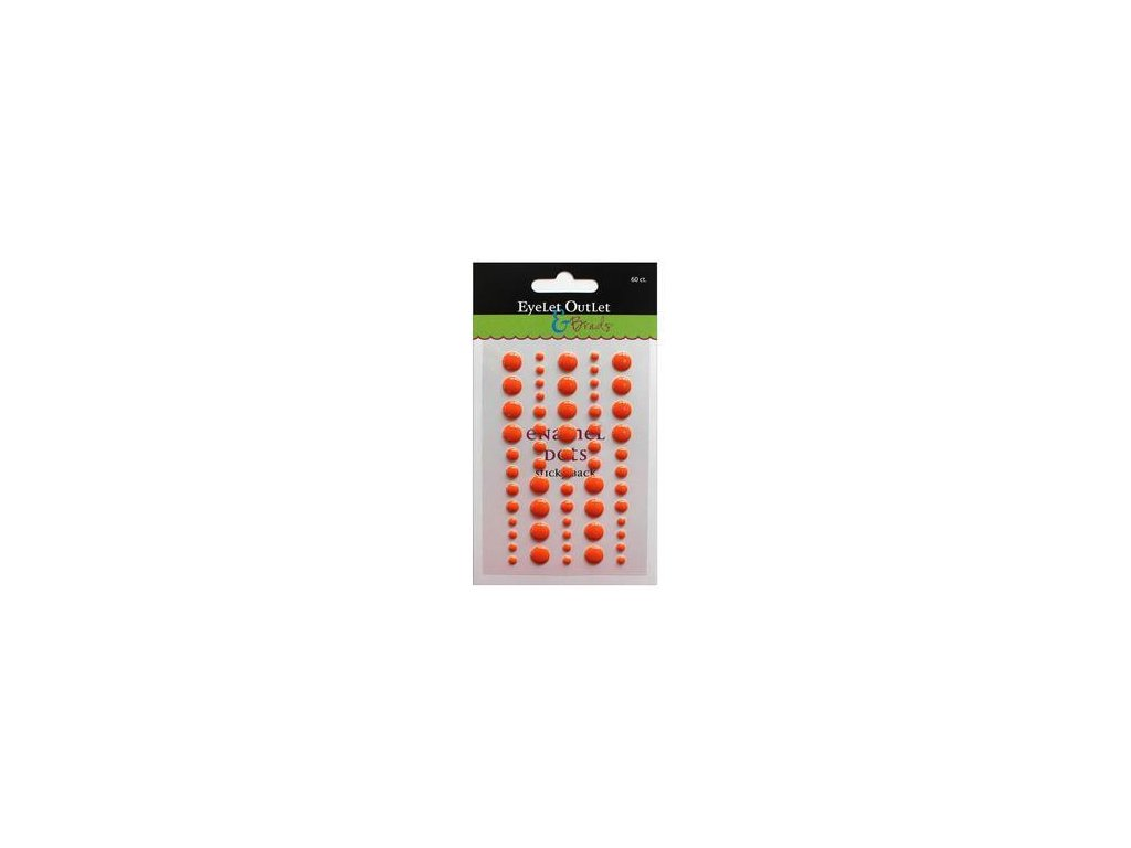EYELET Outlet -  ADHESIVE / ORANGE - lesklé enamel dots, 60 ks