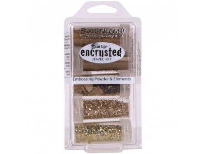Stampendous - ENCRUSTED JEWEL GOLD KIT - sada 5 prášků na horké embossování + glitry