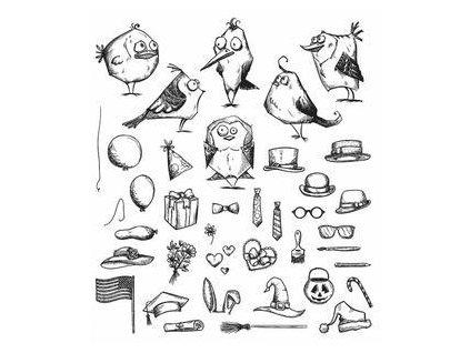 Stampers anonymous / Tim Holtz - MINI BIRD CRAZY & THINGS - cling gumová razítka