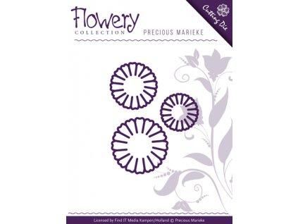 Precious Marieke - FLOWERY / DAISY TRIO - vyřezávací a embos. šablona pro Big Shot