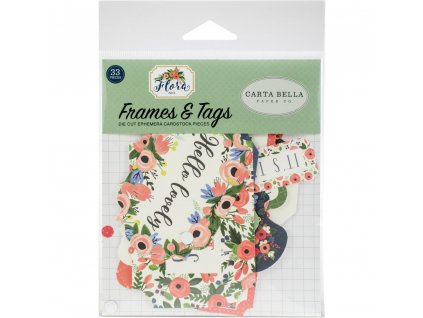 Carta Bella - FLORA / FRAMES&TAGS - papírové výseky, 33 ks