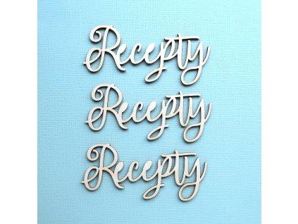 Hurá Papír - kartonové výseky / RECEPTY - 7,2 x 2,9 cm; 3 ks