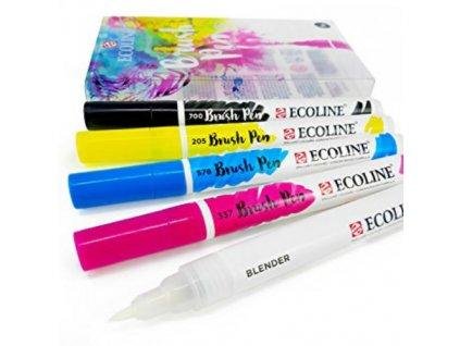 Ecoline - PRIMARY / akvarelové fixy se štětcovým hrotem sada 4 ks + blender