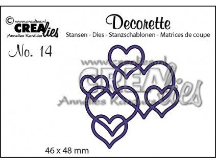 Crealies - DECORETTE / 14 /  srdíčka - vyřezávací šablony pro Big Shot