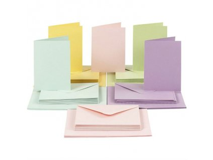 A6 - sada obálek a přání - PASTELOVÁ, 5 odstínů barev - 50 ks