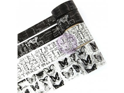 Prima Marketing - TRAVELERS / BLACK - 4 washi pásky