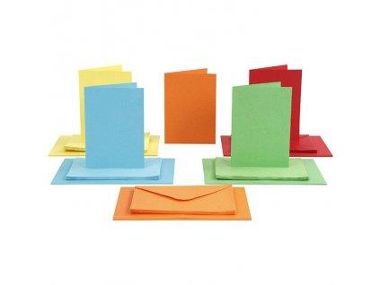 A6 - sada obálek a přání - SYTÉ BARVY, 5 odstínů barev - 50 ks