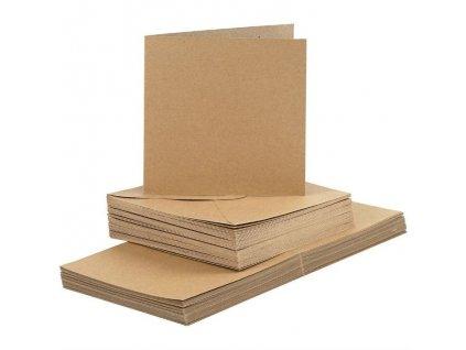 Čtvercová  kraft - přání 15 x 15 cm + obálky - 50 ks