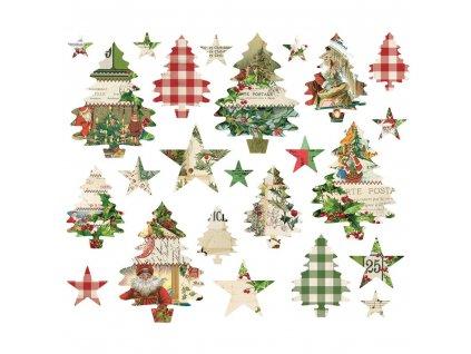Simple Stories - SIMPLE VINTAGE CHRISTMAS - papírové obrázky, vánoční stromky