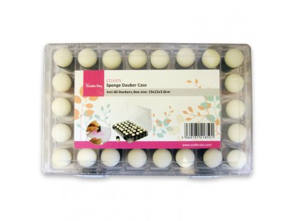 Crafts Too - SPONGE DAUBER CASE - plastová krabička + 40 houbiček