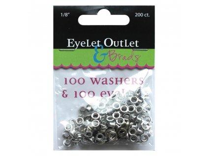 """Eyelet Outlet - 1/8"""" / EYELETS & WASHERS / silver - průchodky se zadními kryty"""