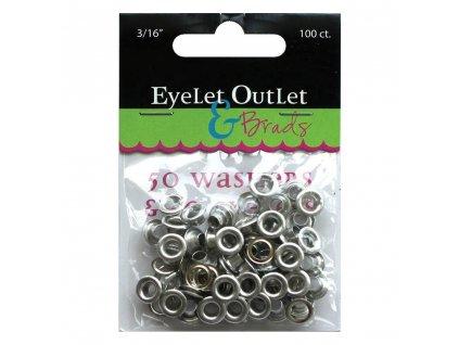 """Eyelet Outlet - 3/16"""" / EYELETS & WASHERS / silver - průchodky se zadními kryty"""