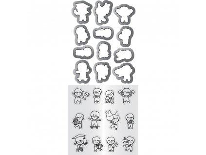Mama Elephant - MINI BOY AGENDA - vyřezávací kovové šablony + silikonová razítka