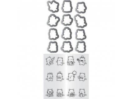 Mama Elephant - MINI CAT AGENDA - vyřezávací kovové šablony + silikonová razítka
