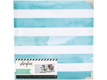 Heidi Swapp - STORYLINE / Watercolor Stripe - D-ring album včetně složek