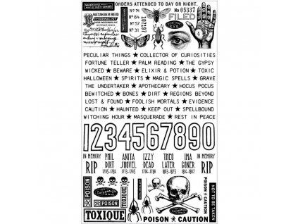 Tim Holtz - REMNANT RUBS / HALLOWEEN - Rub-Ons / propisoty pro scrapbook