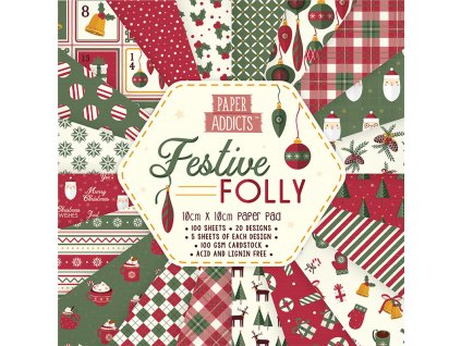 paper addicts festive folly 10x10cm paper pad papa