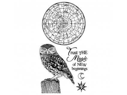 stamperia natural rubber stamp cosmos owl wtkccr05
