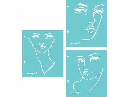 Jane Davenport - GOOD FACE STENCILS - 3 šablony 17,8 x 20,3 cm