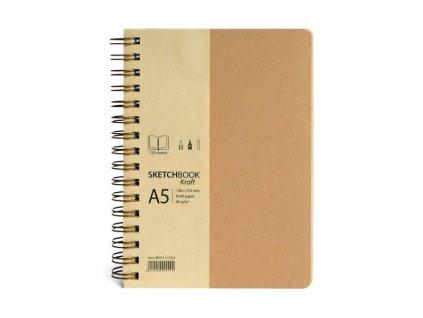 Drasca - SCRAPBOOK & PORTFOLIO KRAFT / A5  - deník k kraft listy na výšku