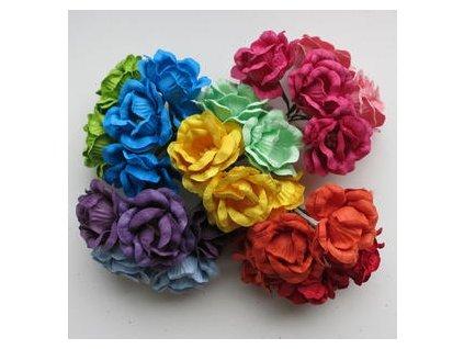 ROSES / MIX BRIGHT - papírové kytky - 25 ks