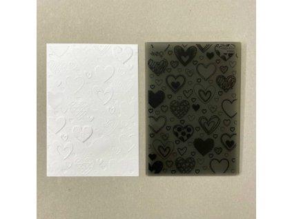Sizzix - srdce / 663628 - 3 D embosovací kapsa