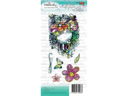 polkadoodles flower collage clear stamps pd7927