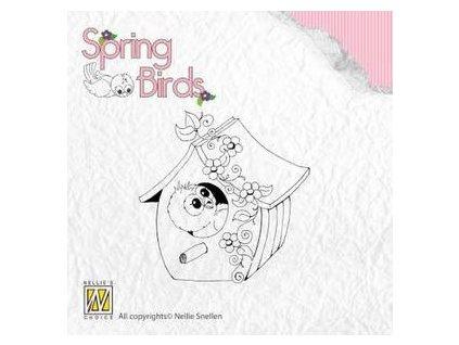 Nellie´s Choice - Spring-birds Spring- MY BIRDHOUSE - silikonové razítko