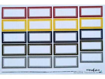 Hurá Papír - NAŠE RODINA / RODOKMEN, štítky / A5 - samolepky, bílý podklad