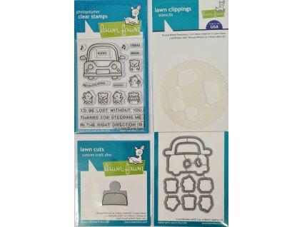 Lawn Fawn - CAR CRITTERS - silikonová razítka + vyřezávací šablony + masky