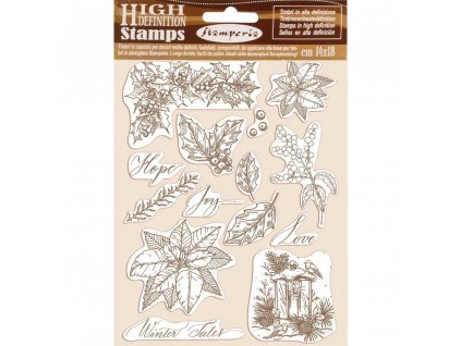 stamperia natural rubber stamp poinsettia wtkcc170