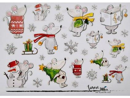 Hurá Papír - A5 / VÁNOCE 2018 / myši - vánoční samolepky