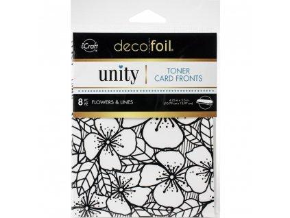 iCraft - Deco Foil - TONER CARD FRONTS / FLOWERS / 8 ks - potištěné kartičky k metalickým fóliím