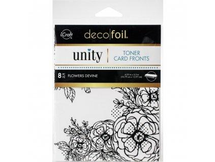 iCraft - Deco Foil - TONER CARD FRONTS / FLOWERS DEVINE / 8 ks - potištěné kartičky k metalickým fóliím