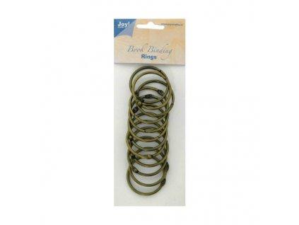 Joy! - mosazné  BOOK RINGS -  knihařské kroužky, 12 ks