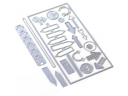 Elizabeth craft designs -  PLANNER A5 / DIRECTIONS 29  / 1804 - diářová vyřezávací kovová  sada